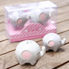 100pcs=50sets/lot Baby Shower Mommy And Me Little Peanut Elephant Ceramic Salt And Pepper Shaker Wedding Favors Gifts  ZA1217