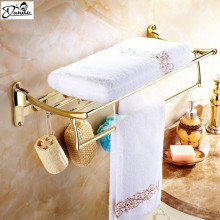 Gilded Finishes Bathroom Towel Shelf Wall Mount Bathroom Accessries Double Tiers Folding and hook up Towel Bar Brass towel rac(China)