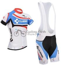 2014 NEW! CUBE #2 short sleeve cycling jersey bib shorts set bicycle wear clothes jersey pants+gel pad,3D Silicone!