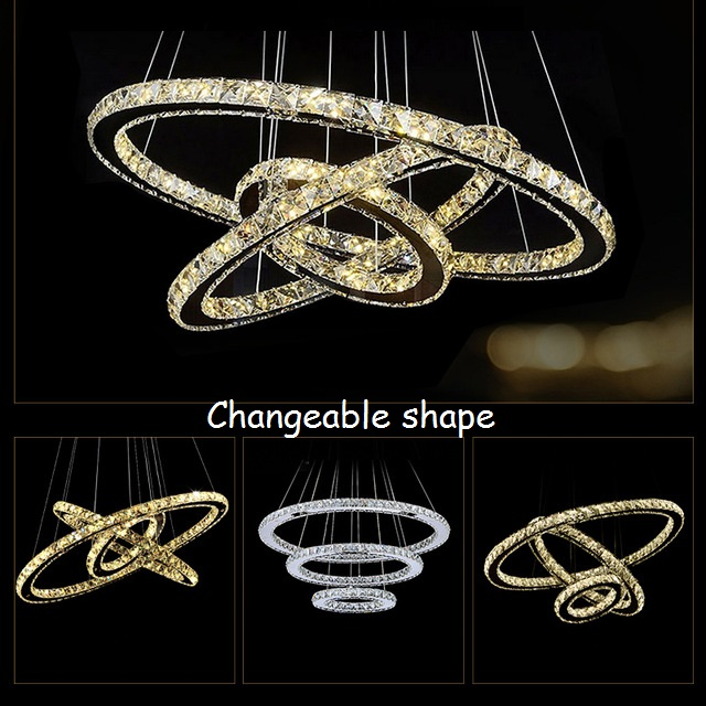 Modern ChandelierLEDCrystal Ring Chandelier Ring Crystal Light Fixture Light Suspension Lumiere LED Lighting Circles Lamp90-260V<br><br>Aliexpress