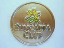 Wholesale custom silver SUNCADIA RESORT GOLF CLUB METAL COIN BALL MARKER cheap custom metal silver paint coins medals(China)