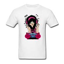 Youth  men Shirts Guys Anime Emo Girl Loves Music 100% Cotton Crewneck Printed With Healthy Ink casual best tee shirt sites