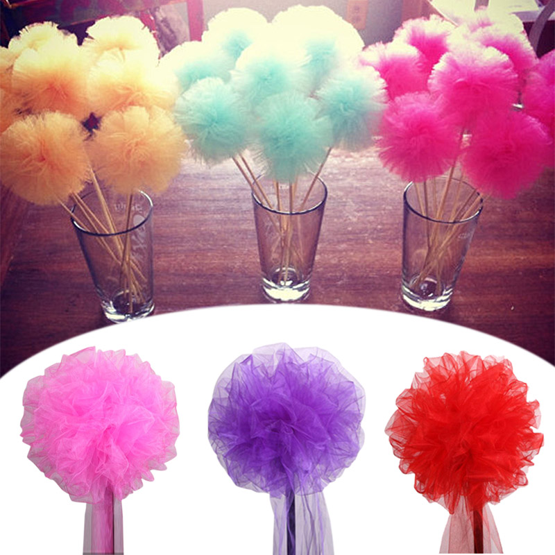 30cm Polyester Tulle Pom Pom Flowers Ball Party Wedding Arrangement Tulle Pompoms Baby Shower Supplies DIY Living Room Decor 75
