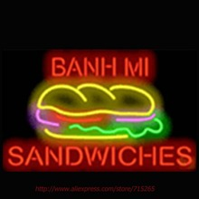 Banh Mi Sandwiches Neon Sign Commercial Neon Bulbs Real Glass Tube Shops Display Handicrafted Recreation Room Attract 17x14 VD