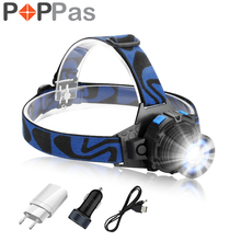 POPPAS Headlamp Cree Q5 Chips LED Headlight High Bright Built-in Lithium Battery Rechargeable Head lamps Zoomable Torch(China)