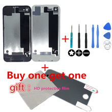 Rear Battery Housing Back Glass Cover Door Case for iPhone 4 4G 4S Original 8in1 Screws tool Replacament HD protective film