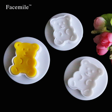 3pcs/ Lot Plastic Fondant Gigt Sugar Craft Decoration Cookie Cutter Bear Spring Plate Biscuit Kitchen Cooking Gigt Tool 04047