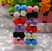 jewelry stainless steel post stud earring soccer letter  logo picture stud earrings mix color 12 pairs/card