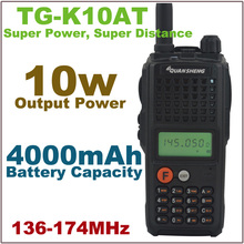 10Watt Output Power walkie talkie TG-K10AT VHF 136-174MHz 10km Portable Two-way Radio with 4000mAh Battery Pack
