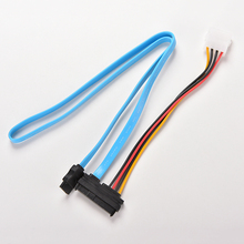 1PC 7 Pin Blue SATA Serial Female ATA to SAS 29 Pin Connector Cable &Male Power Cable Adapter Converter for Hard Disk Drive(China)