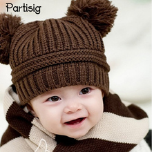Baby Hats Double Ball Winter Baby Caps Two Wool Ball Crochet Kids Caps Knitted Children Hats Headwear Accessories(China)