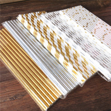 25pcs Metallic Gold heart star Foil Stripe Paper Straws Gold Foil Stripe Paper Straws Silver Foiled stripe chevron(China)
