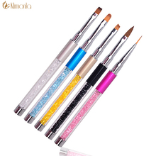 Rhinestone Nails Art Brush Crystal Metal Acrylic Handle Carving Gel Polish Decoration Painting Drawing Salon Nail Art Pen 5stye(China)