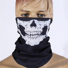 Fashion 2016 Ghost Scarf Black Skull Half Face Skeleton Motorcycle Scary Horror Party Halloween Mask Gift(China)
