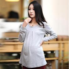 New Fashion Cotton Maternity T-Shirt Autumn and Winter Loose Tops for Pregnant Women Tees for Pregnancy 2015 Clothing Wholesale(China)