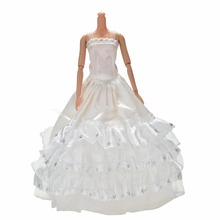 White 3 Layers Lace Wdding Dress For Barbies Cute Long Ball Gown Dress For Barbie Doll DIY Baby Toys