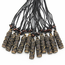 Wholesale 12pcs Yak Bone Carved Cylindrical Dragon Totem Pendant Necklace Ethnic Wood Beads Necklace Amulet Lucky Gift YN112