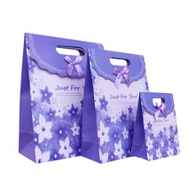 Free Shipping 12 X Purple Gift bag Wedding Birthday Party Paper Portable Gift Bag Party Favor Supply