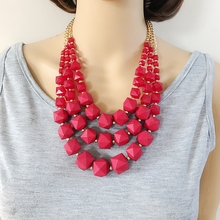 Free Shipping Three Layers Fashion Red Purple Beaded Collar Sweet Necklace(China)