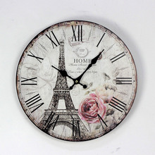 12inch Paris Tower Elegant British wood wall clock Suitable for cafe Restaurant Bar Electronic bell Living room Decoration(China)