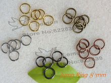 Jewelry Findings Accessories 8mm Jump ring 1000pc/lot gold/copper/silver/black gun/antique gold Free nickel Free lead(China)