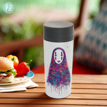 Watercolor Japanese Anime Miyazaki Movie NO FACE Plastic Kids Cute Water Bottles 300ml BPA Free With Lid Personalized Drinkware(China)