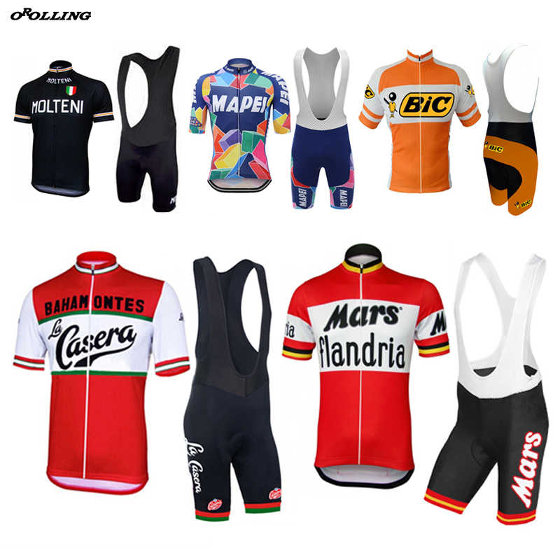 New Multi Retro Classical Team Pro Cycling Jersey Set Shorts Customized  Road Mountain Race OROLLING 0ade6ec44