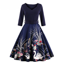 2017 New Arrival Autumn Dress Women Female Vintage Print Swan Dresses Three Quarte Knee-Length V Neck Vestidos Dress Plus Size