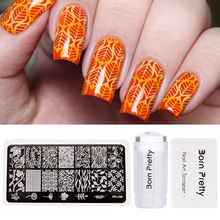 BORN PRETTY Nail Art Stamping Tool Set 2.8cm Clear Jelly Silicone Stamper Flower Vine Image Plate with Scraper Stamp Polish Kits