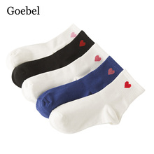 Goebel Harajuku Style Woman Cotton Socks Fashion Red Heart Girl Socks Brand In Tube College Wind Ladies Socks 5pairs/lot(China)