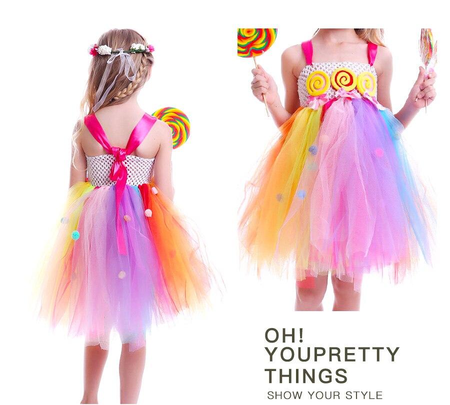 Lollipop Candy Girls Tutu Dress Kids Rainbow Birthday Party Dress Children Sweet Candy Land Outfit Girls Dance Recital Gown (19)