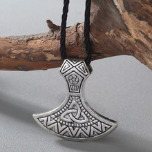 QIMING Vintage Charm Men Valknut Odin 's Symbol of Norse Viking Warriors Mammen Axe Pendant Antique Silver Necklace Women