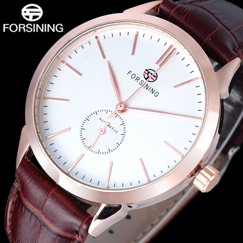 2017 FORSINING Simple brand men watches fashion automatic self-wind watch brown genuine leather strap rose gold case stop watch<br><br>Aliexpress