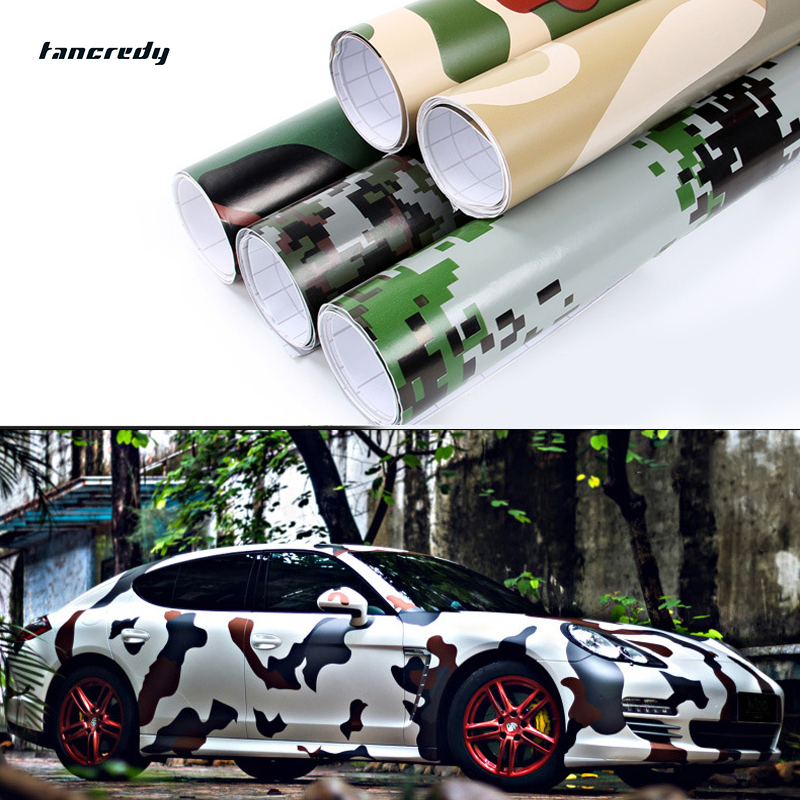 Tancredy Car Stling 30*152m Camouflage PVC Vinyl Car Sticker car body Wrap Film Camo Army Green car-stylings stickers and Decals(China (Mainland))