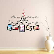 Love Birds Photo Frame Wall Stickers living room bedroom Kiss Birds Family wall Decals Wall Mural Art Home Wedding Decoration(China)