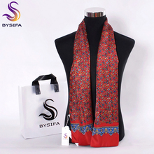 [BYSIFA] Fashion Men Business Silk Scarves Apparel Accessories Male Long Scarves Autumn Winter Red Black Paisley Silk Neck Scarf