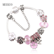 3 Colors Plated Silver Heart Love Charm Bracelet with Safety Chain & Pink pan Bracelet Authentic Jewelry BL038