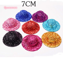 7CM Solid Mini Hat Base DIY Children Glittering Hen Hat Handmade DIY Hair Accessories For Gilrs Latin Dance Performance Hairpins