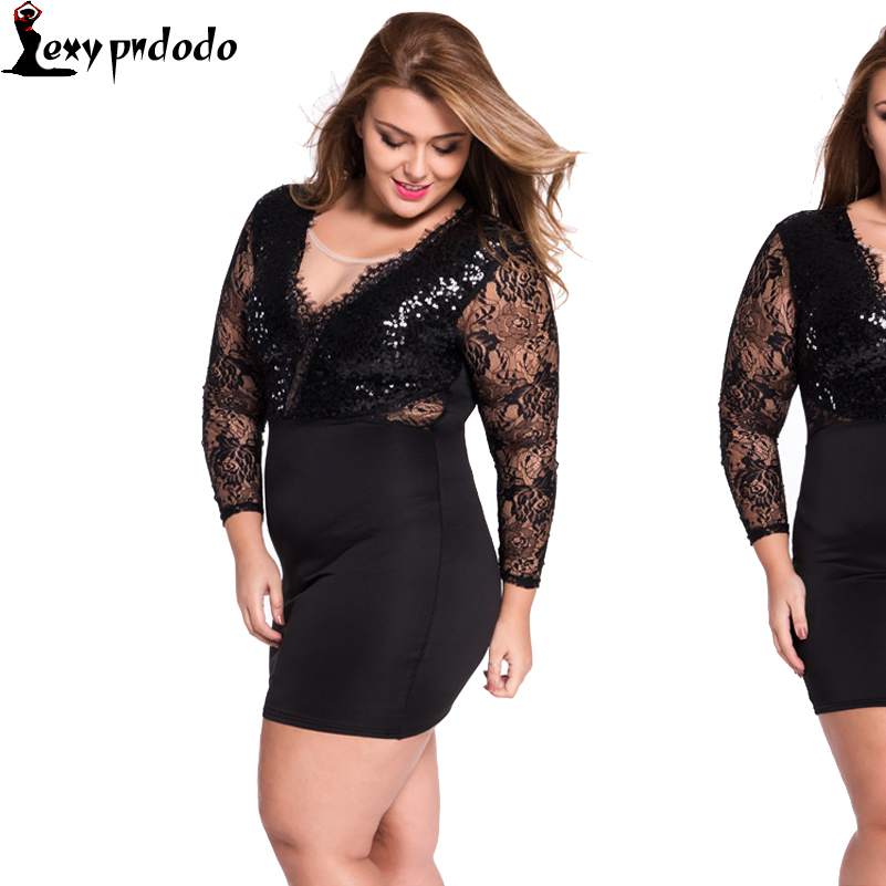 Pndodo Lace Sequin Embellished Bodycon Party Dress LC22440 Fashion Style Sexy Dresses For Women Vestidos New 2016