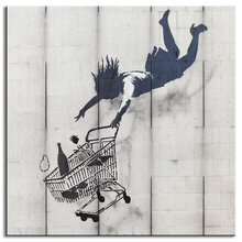 1 Pcs Banksy Art Shopping Cart Wall Art Graffiti Woman Falling Canvas Prints Painting for Living Room Decor