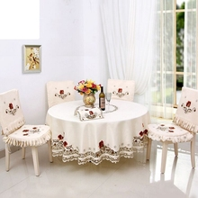 New Hot embroidered table cloth Elegant Design home hotel wedding round tablecloth Home Table Textile Decoration