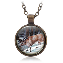 Christmas Gift Necklace Glass moose deer Picture Statement Chain Necklace Vintage Bronze Silver ColorJewelry Children's gift(China)
