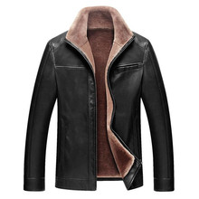 Buy Autumn winter male leather jacket business casual jacket warm jacket velvet male jacket leather coat solid color for $51.35 in AliExpress store