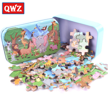 QWZ 60pcs/set Wooden Puzzle Cartoon Toy 3D Wood Puzzle Iron Box Package Jigsaw Puzzle Child Educational Montessori Toy Kids Gift