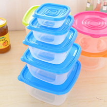 Multifunctional Home Storage Boxes Sets For Food Fresh Keeping 5 Sizes/Set Snack Container Damp-proof Microwave Oven Plastic Box