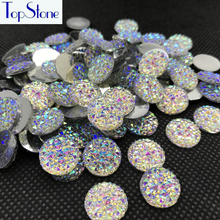 Topstone 100pcs Crystal AB Color 10,12,14,16,18mm Round Glitter Faux Resin Rhinestones Acrylic Flatback Decoden Kawaii Cabochons(China)