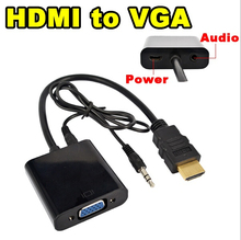 100pcs/lot *HDMI to VGA Converter Adapter with Audio Cable + Micro USB Power Connector HD 1080P for Xbox 360 PS3 HDTV(China)