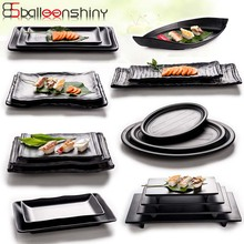 BalleenShiny Black Melamine Frosted Dishes Imitation Porcelain Tableware Restaurant Food Snacks Sushi Fish Plate Dinnerware(China)