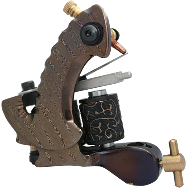 Professional Damascus Tattoo Machine 10-Wrap Coils Iron Cast Frame Custom Tattoo Gun For Liner Shader Free Shipping TM-402<br>