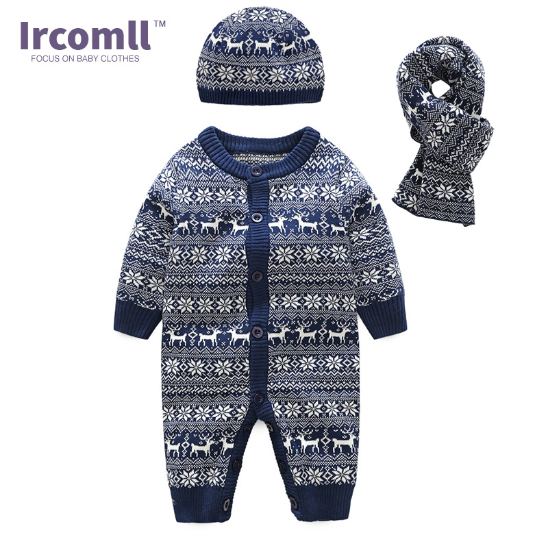Ircomll 2018 New Year Clothes Set Newborn Baby Rompers Knitted Sweater Hooded Deer Body suit(Jumpsuit+hat+scarf) Infant Overalls<br>